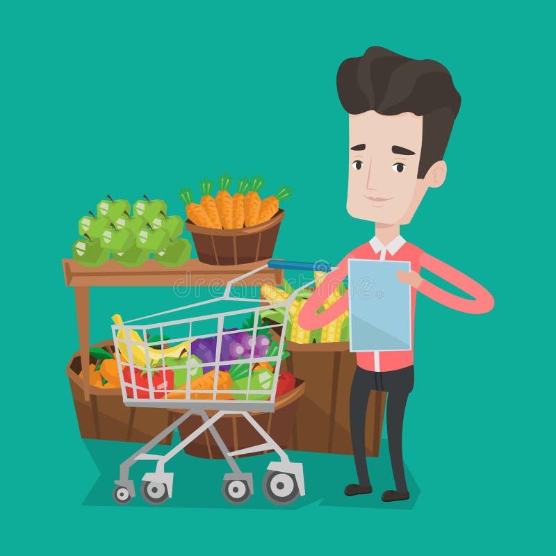 Mens met het winkelen lijst vectorillustratie vector illustratie