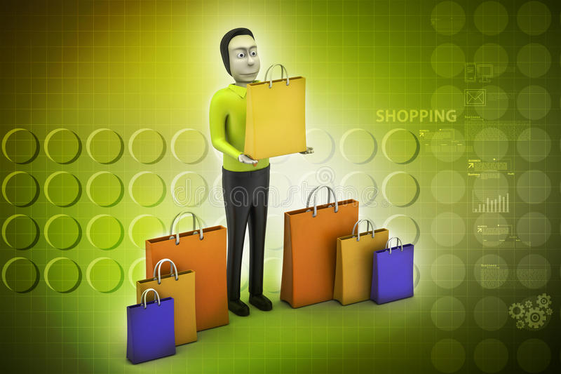 Mens met het winkelen zak stock illustratie