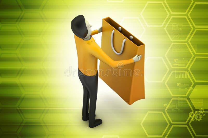 Mens met het winkelen zak vector illustratie