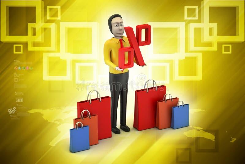 Mens met het winkelen zak royalty-vrije illustratie