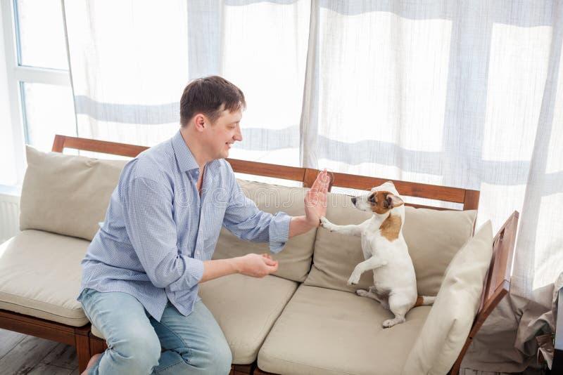 Mens met hond thuis stock foto