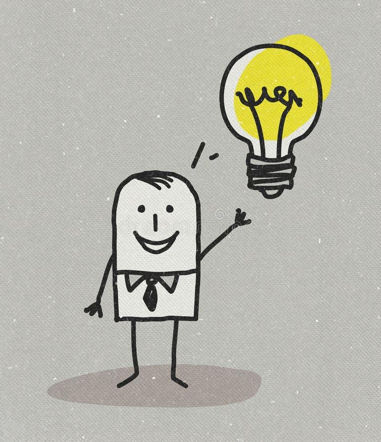 Mens met idee en gloeilamp vector illustratie