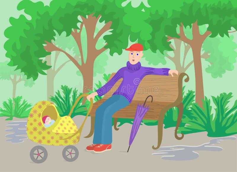 Mens met kind in kinderwagenzitting op een parkbank stock illustratie