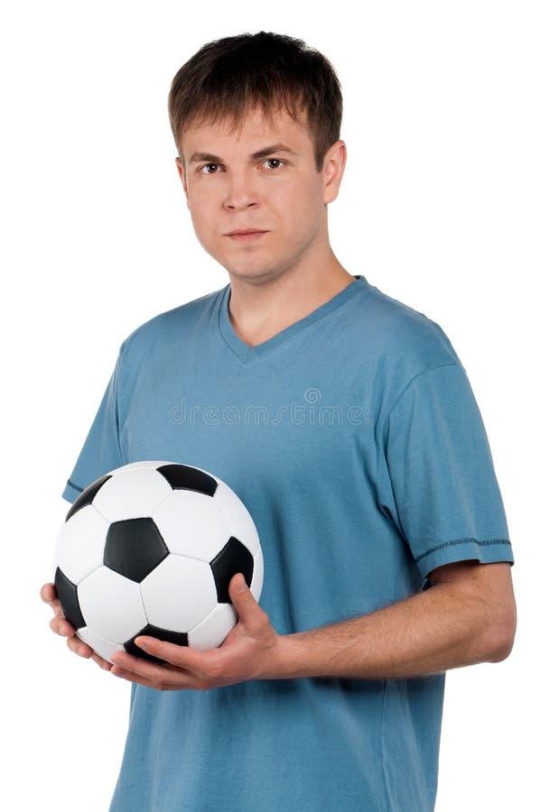 Mens met klassieke voetbalbal stock fotografie