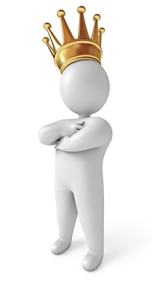 Mens met kroon op zijn hoofd royalty-vrije illustratie