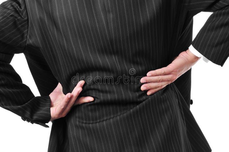 Mens met lage rugpijn stock foto's
