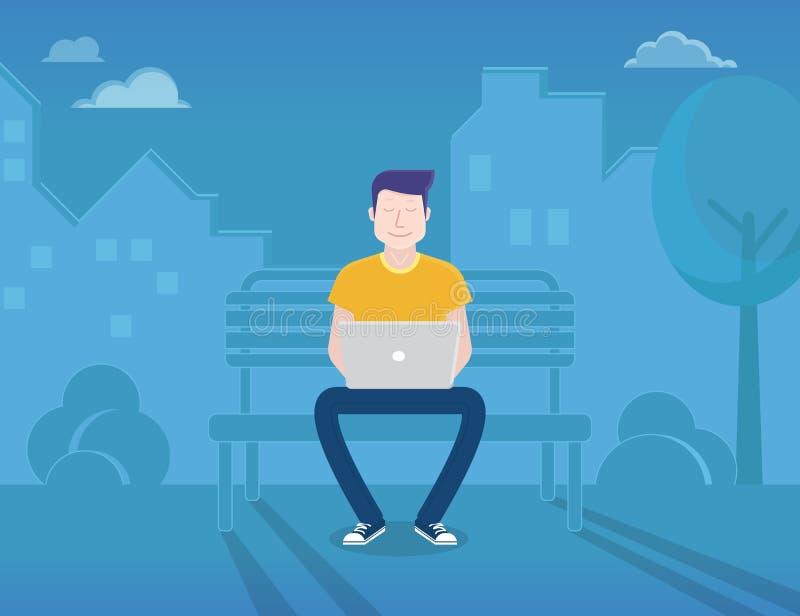 Mens met laptop stock illustratie