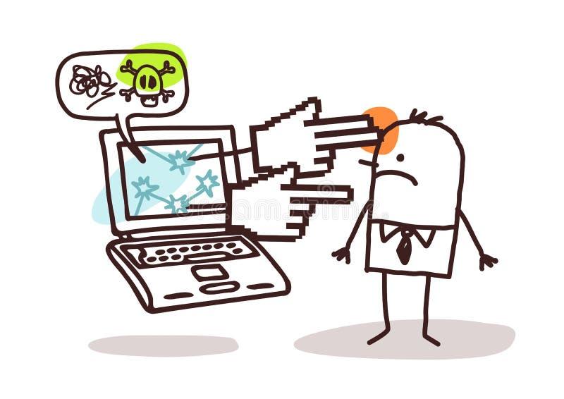 Mens met laptop en het cyberbullying royalty-vrije illustratie