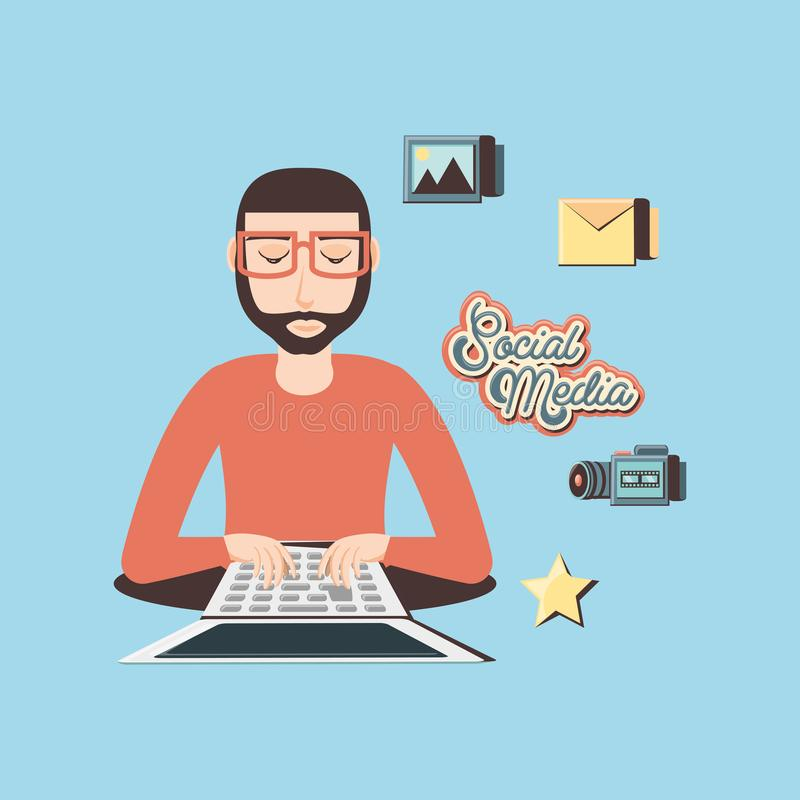 Mens met laptop sociale media pictogrammen vector illustratie