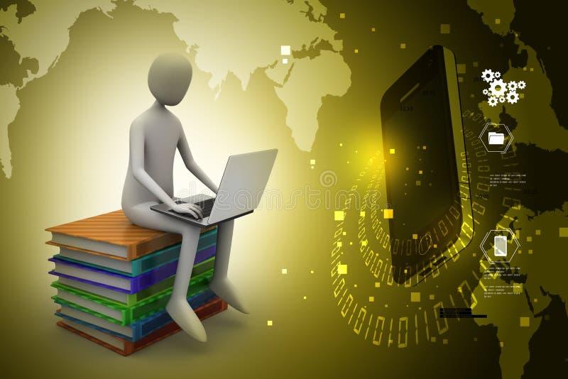 Mens met laptop zitting op boeken stock illustratie
