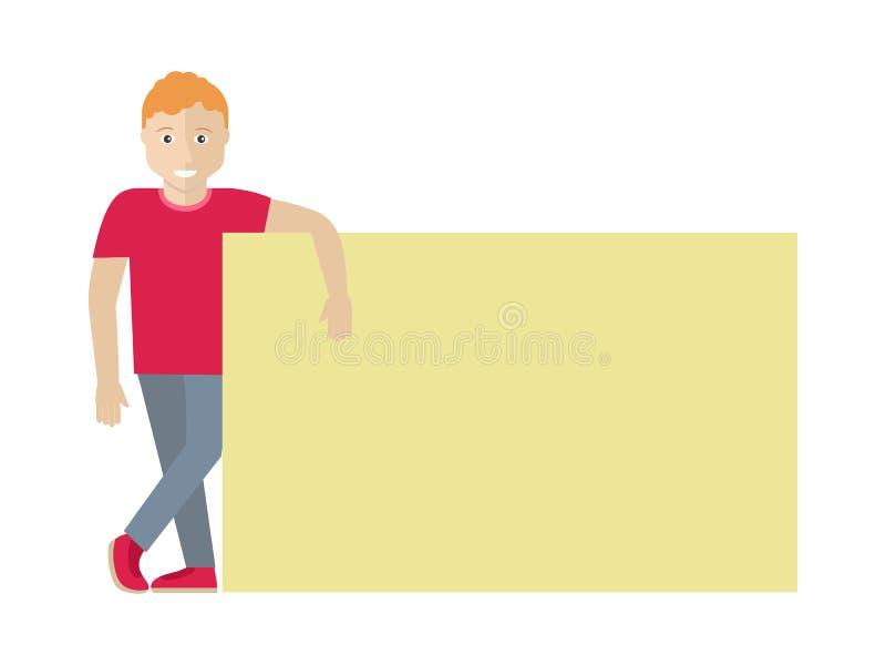 Mens met Lege die Banner op Wit wordt geïsoleerd Vector vector illustratie