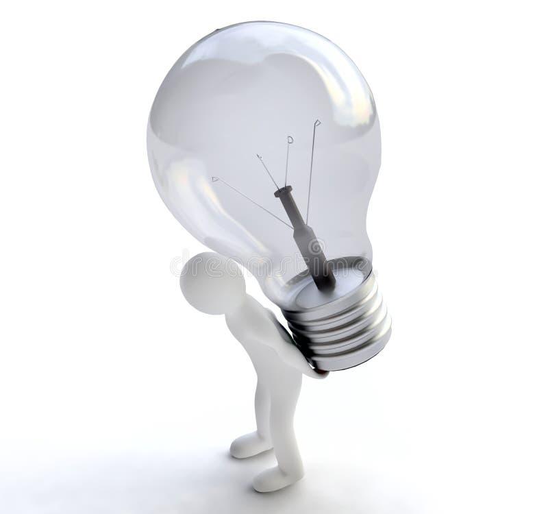 Mens met Lightbulb in 3D royalty-vrije illustratie