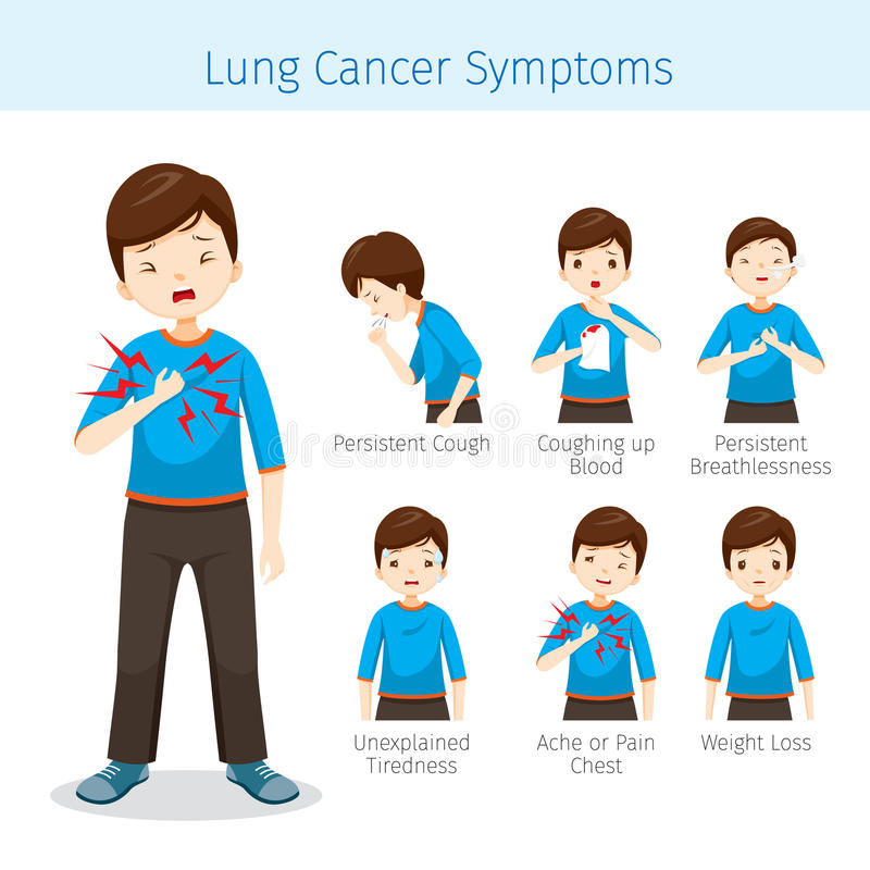 Mens met Lung Cancer Symptoms vector illustratie
