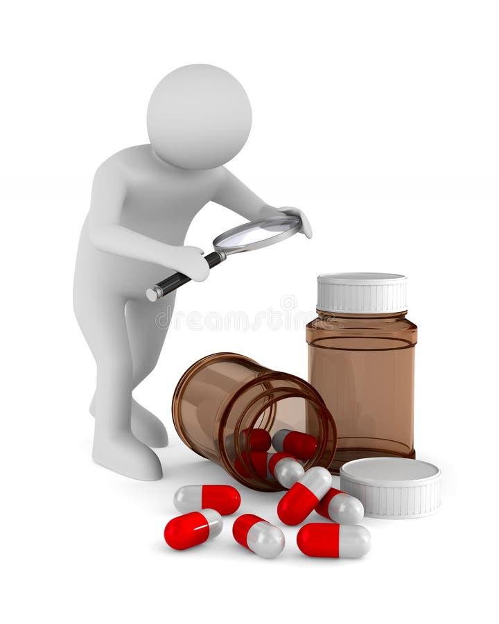 Mens met meer magnifier en geneesmiddel op witte achtergrond Geïsoleerde vector illustratie