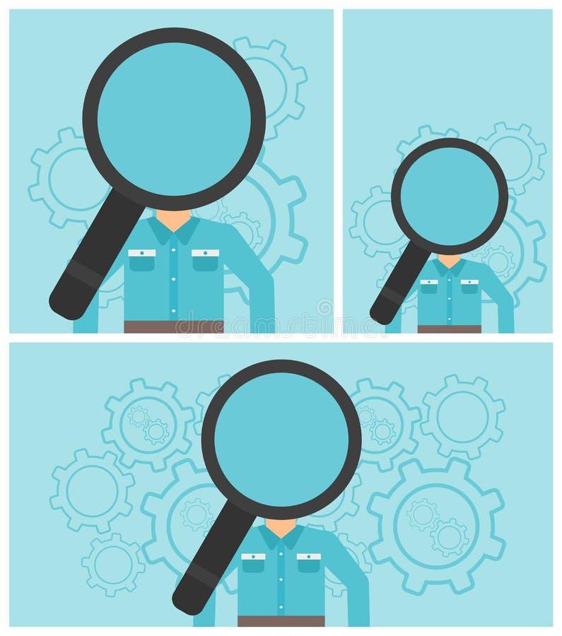 Mens met meer magnifier in plaats van hoofd vector illustratie