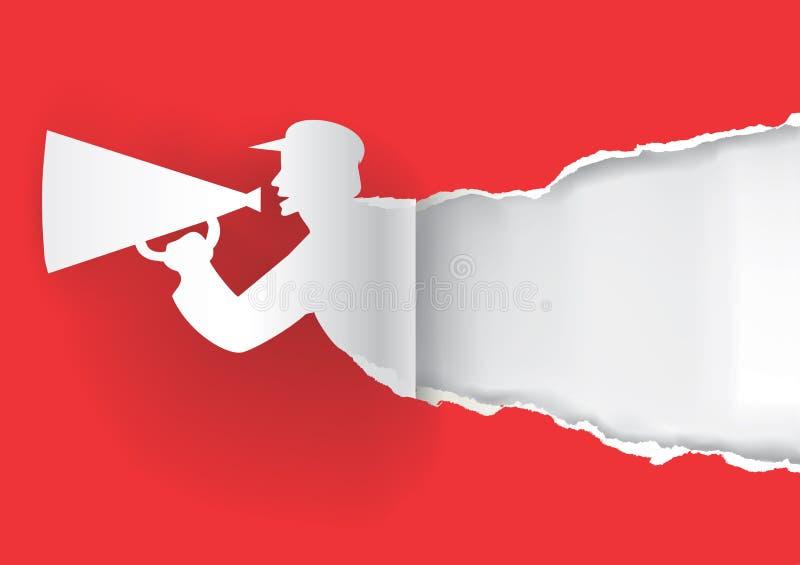 Mens met megafoon gescheurd document stock illustratie