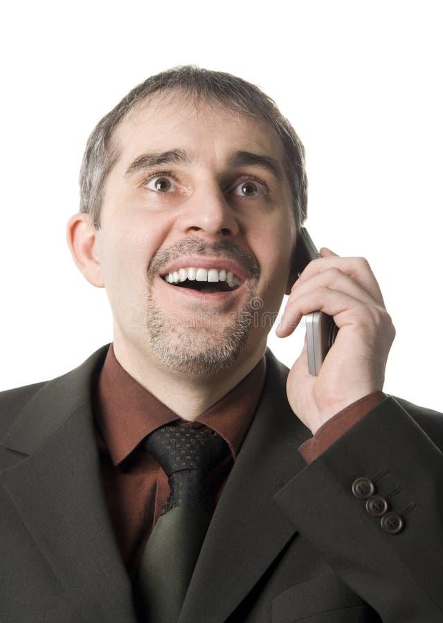 Mens met mobiele telefoon stock foto's