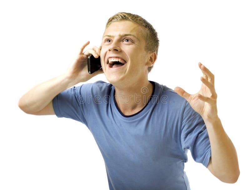Mens met mobiele telefoon. stock afbeelding