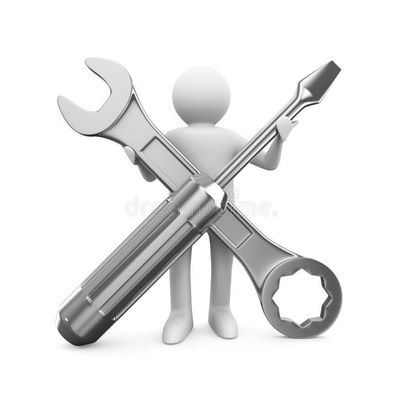 Mens met moersleutel en schroevedraaier vector illustratie