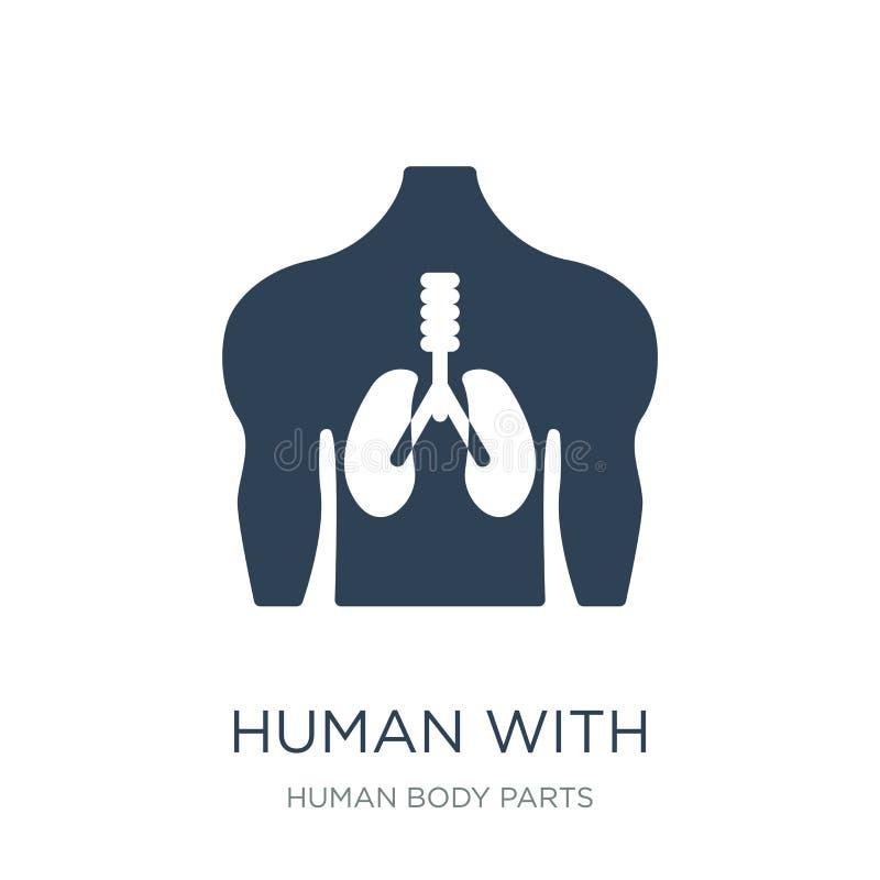 mens met nadruk op het longenpictogram in in ontwerpstijl mens met nadruk op het longenpictogram op witte achtergrond wordt geïso royalty-vrije illustratie