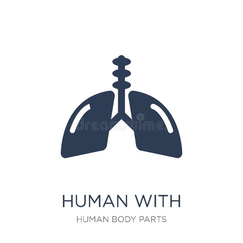 Mens met nadruk op het longenpictogram In vlak vector Menselijk verstand vector illustratie