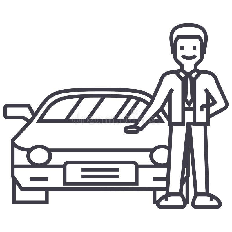 Mens met nieuwe auto, het autohandel drijven, die een pictogram van de voertuig vectorlijn, teken, illustratie op achtergrond, ed vector illustratie