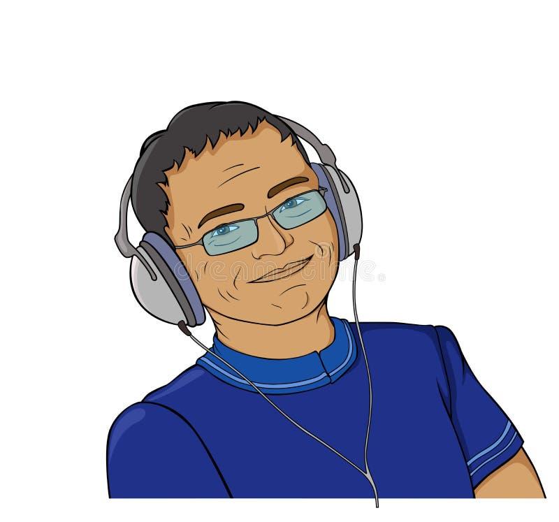 mens met oortelefoon stock illustratie