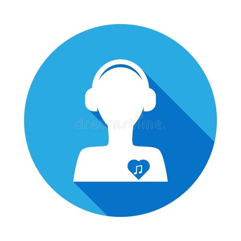 mens met oortelefoon en nota in hartpictogram met lange schaduw Element van muziekillustratie Grafisch het ontwerpteken van de pr royalty-vrije illustratie