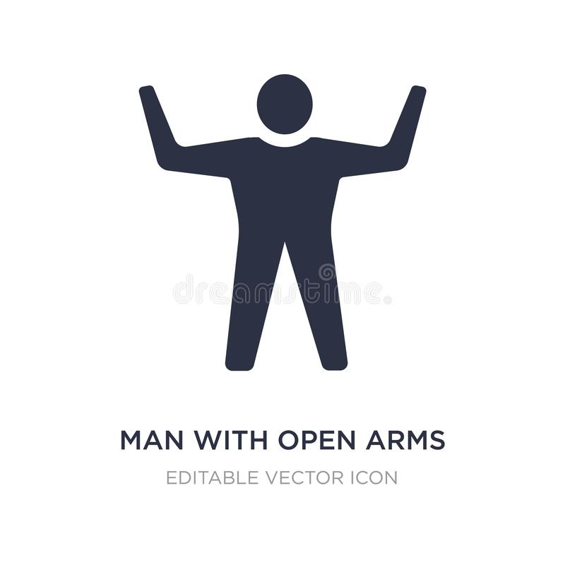 mens met open wapenspictogram op witte achtergrond Eenvoudige elementenillustratie van Algemeen concept royalty-vrije illustratie