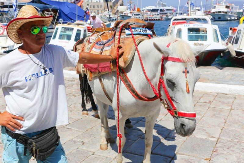 Mens met paard - de eilanden van Griekenland royalty-vrije stock foto's