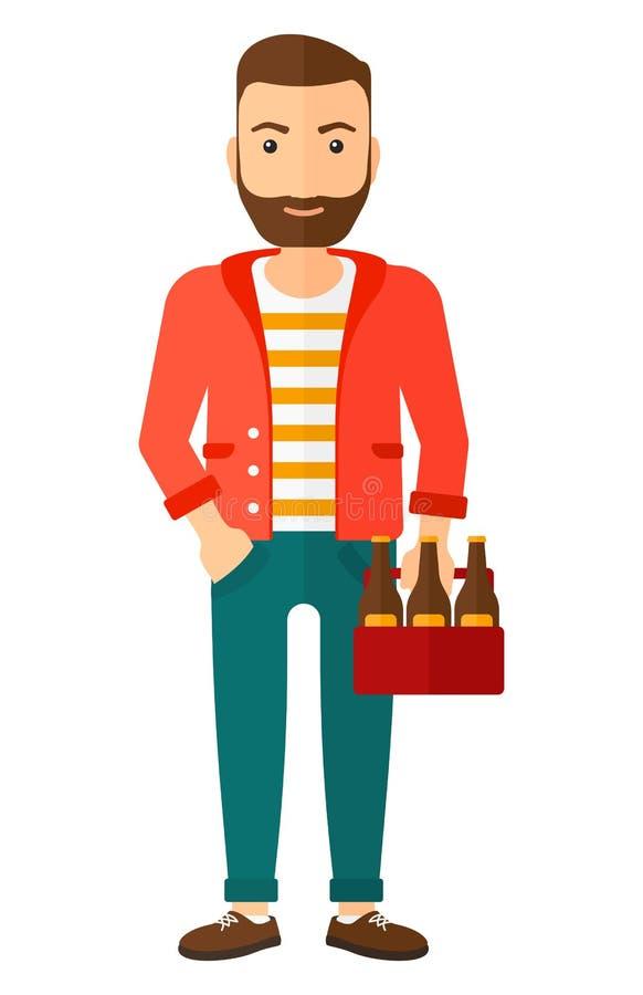 Mens met pak van bier vector illustratie