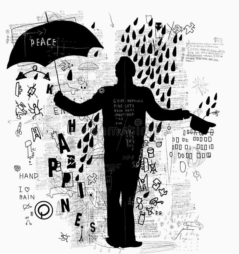 Mens met Paraplu royalty-vrije illustratie