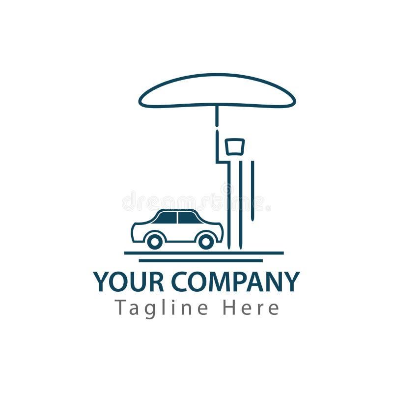 Mens met paraplu die zijn auto beschermen tegen orkaan, concept autoverzekering royalty-vrije illustratie
