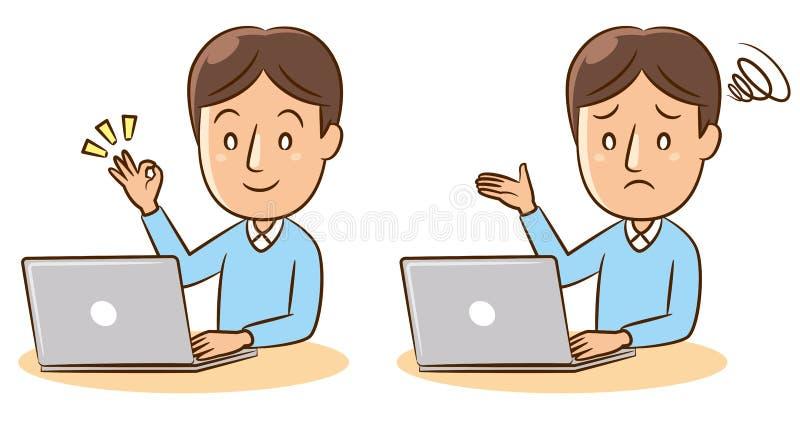 Mens met PC royalty-vrije stock afbeeldingen