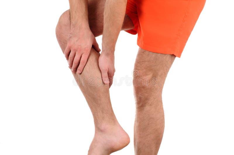 Mens met pijn in been stock afbeeldingen