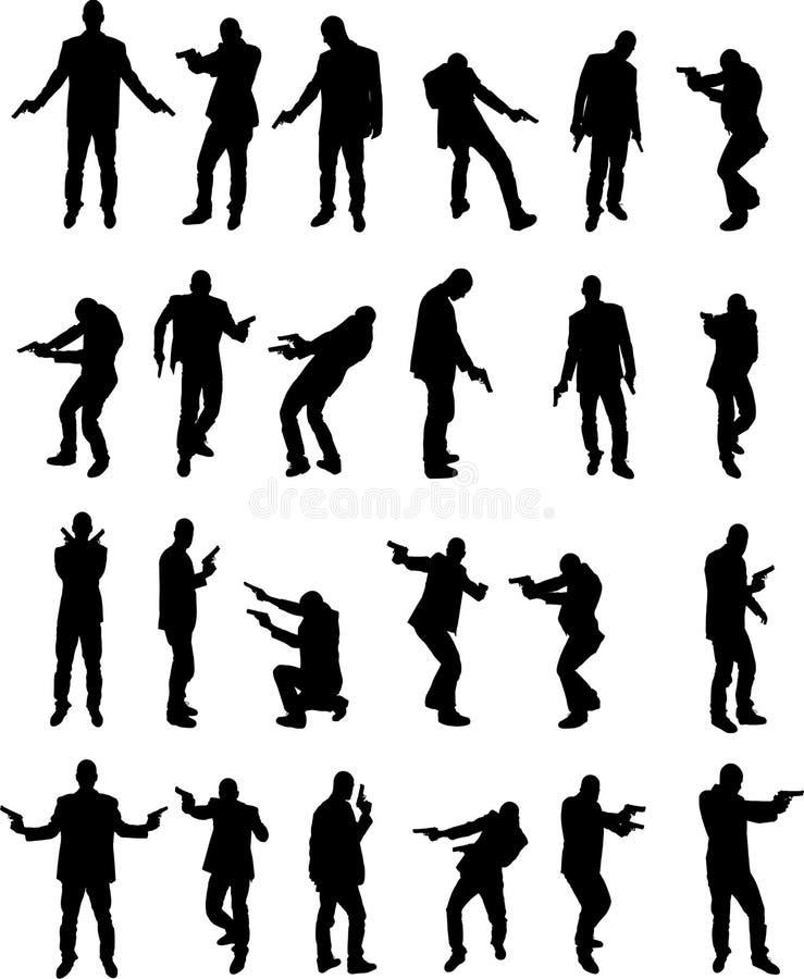 Mens met pistool vector illustratie
