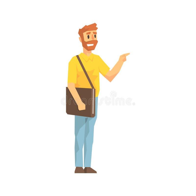 Mens met Posthandtas die de Deur, de Werknemer bellen die van het Leveringsbedrijf Verzendingenillustratie leveren vector illustratie