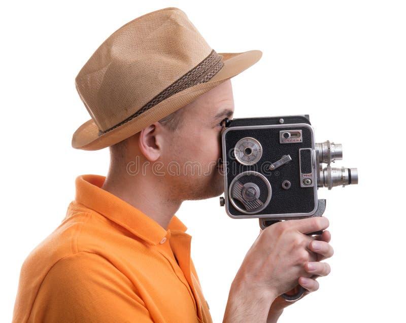 Mens met retro camera royalty-vrije stock afbeelding