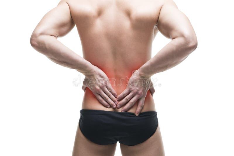 Mens met rugpijn Spier mannelijk lichaam Het knappe bodybuilder stellen in studio Geïsoleerd op witte achtergrond met rode punt royalty-vrije stock foto's
