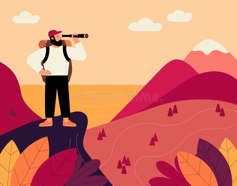 Mens met rugzak en kijker, reiziger die zich bovenop berg bevindt en op vallei kijkt Vlakke beeldverhaal vectorillustratie vector illustratie