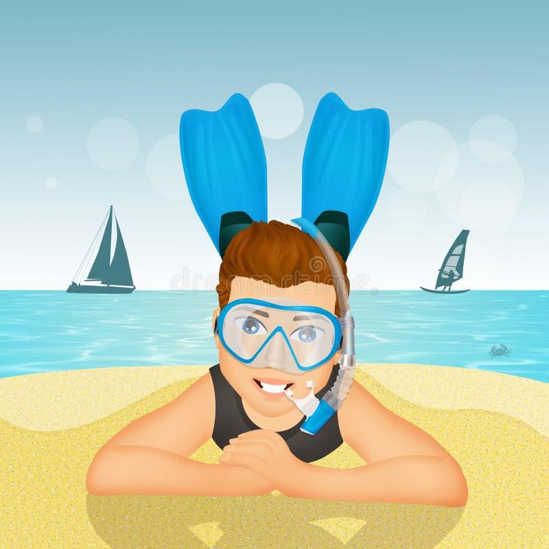 Mens met scuba-uitrustingsmasker en vinnen vector illustratie