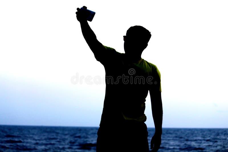 Mens met selfie royalty-vrije stock foto