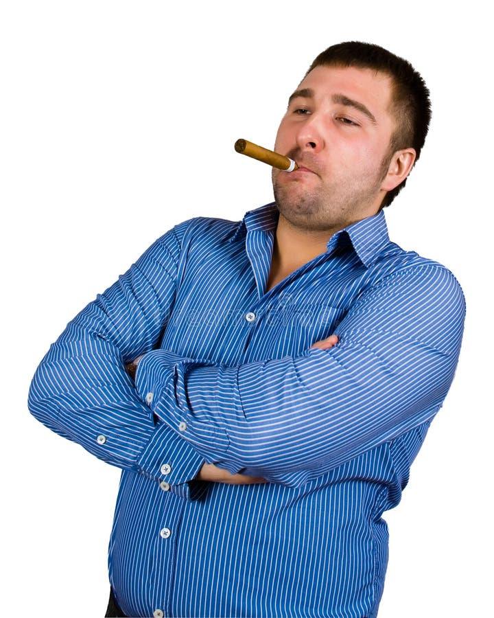 Mens met sigaar royalty-vrije stock afbeeldingen