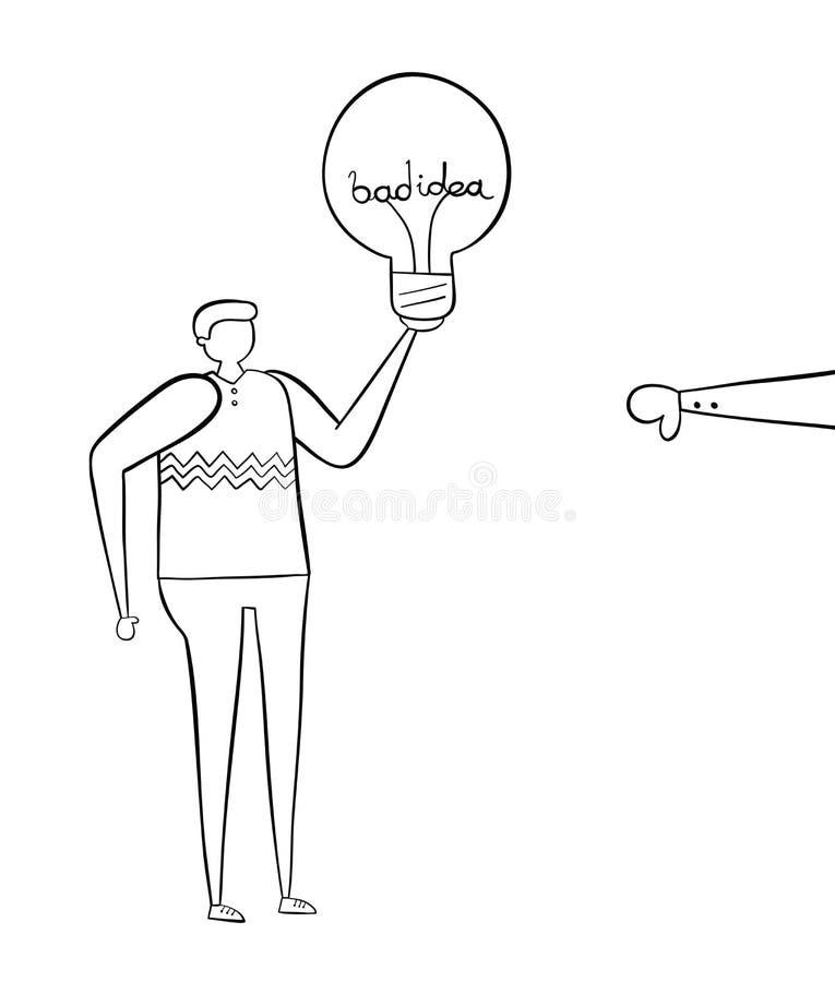 Mens met slechte idee gloeilamp en verworpen met duim-beneden, hand-drawn vectorillustratie Zwarte witte overzichten, royalty-vrije illustratie