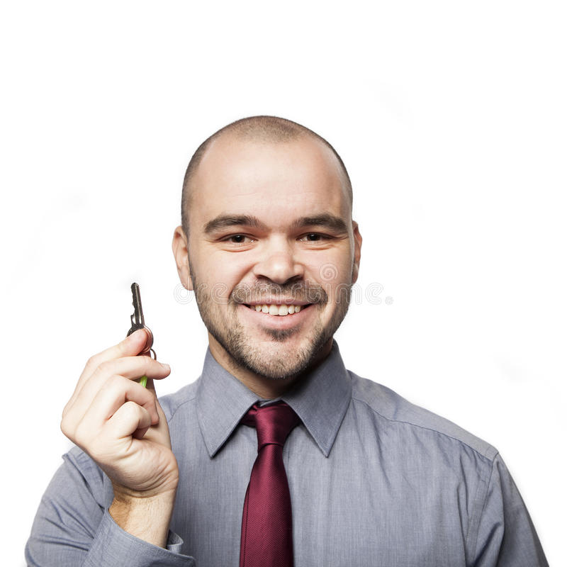 Mens met sleutels stock afbeeldingen