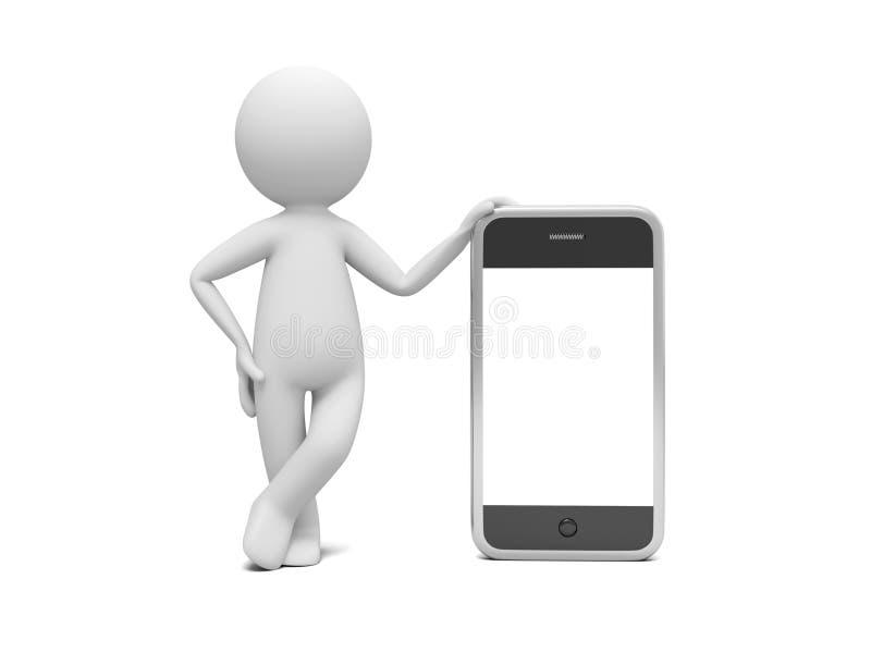 Mens met Slimme Telefoon stock illustratie