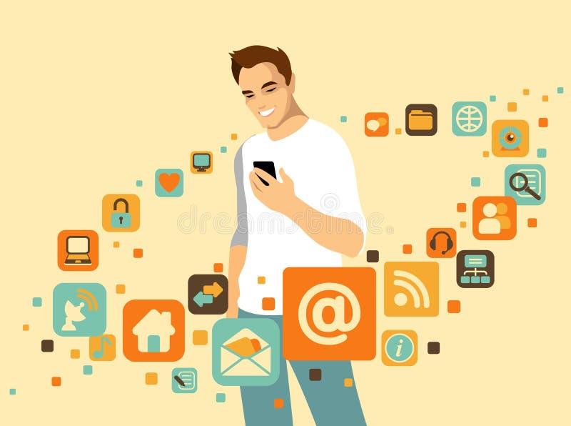 Mens met smartphone vector illustratie