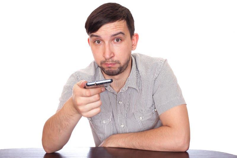 Mens met smartphone stock foto
