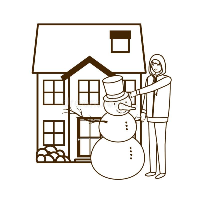 Mens met sneeuwman buiten het huis royalty-vrije illustratie