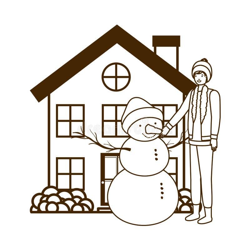Mens met sneeuwman buiten het huis vector illustratie